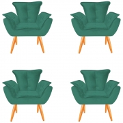 Kit 04 Poltronas Opala Decorativa Sala de Estar Recepção Pé Palito Veludo Tifany C09- D´Classe Decor