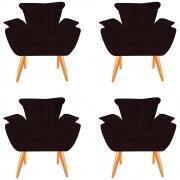 Kit 04 Poltronas Opala Decorativa Sala de Estar Recepção Pé Palito Veludo Bordô C26 - D´Classe Decor