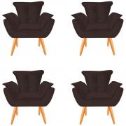 Kit 04 Poltronas Opala Decorativa Sala de Estar Recepção Pé Palito Veludo Marrom C04- D´Classe Decor