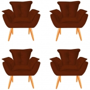Kit 04 Poltronas Opala Decorativa Sala de Estar Recepção Pé Palito Veludo Terracota C28 - D´Classe Decor