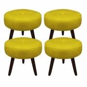 Kit 04 Puffs Duda Decorativa Sala de Estar Recepção Pé Palito Suede Amarelo D04 - D´Classe Decor