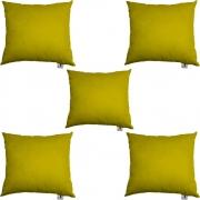 Kit 05 Almofadas Decorativa Com Enchimento Suede Amarelo D04 - D´Classe Decor