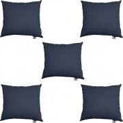 Kit 05 Almofadas Decorativa Com Enchimento Suede Azul Marinho D02 - D´Classe Decor