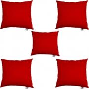 Kit 05 Almofadas Decorativa Com Enchimento Suede Vermelho D09 - D´Classe Decor