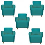 Kit 05 Poltrona Nicolle Decoração Clinica Escritório Recepção Sala Quarto Salão Suede Azul Tiffany