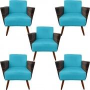 Kit 5 Poltrona Chanel Decoração Pé Palito Cadeira Escritório Clinica Jantar Sala Estar D'Classe Decor Suede Azul Tiffany
