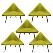 Kit 5 Poltrona Ibiza Triângulo Decoração Sala Clinica Recepção Escritório Quarto Cadeira D'Classe Decor Suede Amarelo