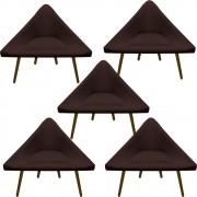 Kit 5 Poltrona Ibiza Triângulo Decoração Sala Clinica Recepção Escritório Quarto Cadeira D'Classe Decor Suede Marrom