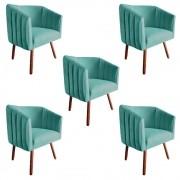 Kit 5 Poltrona Julia Decoração Salão Cadeira Escritório Recepção Sala Estar Amamentação D'Classe Decor Suede Az Tiffany