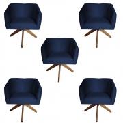 Kit 5 Poltrona Julia Decoração Base Giratória Salão Clinica Cadeira Escritório Recepção D'Classe Decor Suede Az Marinho