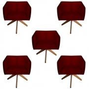 Kit 5 Poltrona Julia Decoração Base Giratória Salão Clinica Cadeira Escritório Recepção D'Classe Decor Suede Marsala