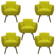 Kit 5 Poltrona Kelly Decoração Clinica Escritório Recepção Sala Estar Quarto Salão D'Classe Decor Suede Amarelo