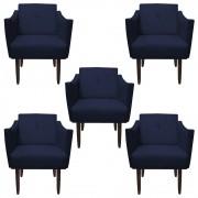 Kit 05 Poltronas Naty Decorativa Sala de Estar Recepção Pé Palito Suede Azul Marinho D02 - D´Classe Decor