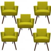 Kit 5 Poltronas Nina Decoração Sala Estar Clinica Recepção Escritório Quarto Cadeira D'Classe Decor Suede Amarelo