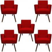 Kit 5 Poltronas Nina Decoração Sala Estar Clinica Recepção Escritório Quarto Cadeira D'Classe Decor Suede Vermelho
