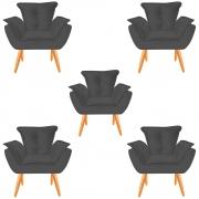 Kit 05 Poltronas Opala Decorativa Sala de Estar Recepção Pé Palito Veludo Grafite C13- D´Classe Decor