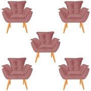 Kit 05 Poltronas Opala Decorativa Sala de Estar Recepção Pé Palito Veludo Rose C22 - D´Classe Decor