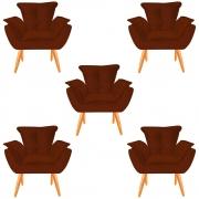 Kit 05 Poltronas Opala Decorativa Sala de Estar Recepção Pé Palito Veludo Terracota C28 - D´Classe Decor