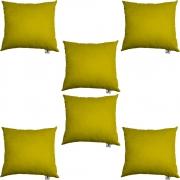 Kit 06 Almofadas Decorativa Com Enchimento Suede Amarelo D04 - D´Classe Decor