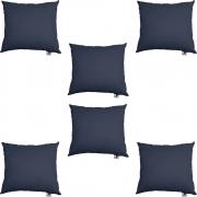 Kit 06 Almofadas Decorativa Com Enchimento Suede Azul Marinho D02 - D´Classe Decor