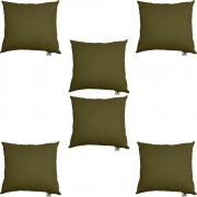 Kit 06 Almofadas Decorativa Com Enchimento Suede Marrom Rato D10 - D´Classe Decor
