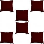 Kit 06 Capas De Almofadas Decorativa Suede Marsala D01 - D´Classe Decor