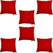 Kit 06 Capas De Almofadas Decorativa Suede Vermelho D09 - D´Classe Decor