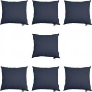 Kit 07 Almofadas Decorativa Com Enchimento Suede Azul Marinho D02 - D´Classe Decor