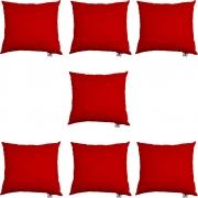 Kit 07 Capas De Almofadas Decorativa Suede Vermelho D09 - D´Classe Decor