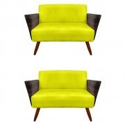 Kit 2 Namoradeira Chanel Decoração Pé Palito Cadeira Escritório Clinica Jantar Sala D'Classe Decor Suede Amarelo
