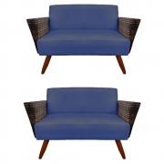 Kit 2 Namoradeira Chanel Decoração Pé Palito Cadeira Escritório Clinica Jantar Sala D'Classe Decor Suede Azul Marinho