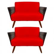 Kit 2 Namoradeira Chanel Decoração Pé Palito Cadeira Escritório Clinica Jantar Sala D'Classe Decor Suede Vermelho