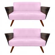 Kit 2 Namoradeira Chanel Decoração Pé Palito Cadeira Escritório Clinica Jantar Sala D'Classe Decor Suede Rosa Bebê