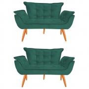 Kit 2 Namoradeira Opala Sofá Decoração Clínica Recepção Escritório Sala Estar D'Classe Decor Veludo Tiffany