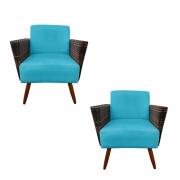 Kit 2 Poltrona Chanel Decoração Pé Palito Cadeira Escritório Clinica Estar Suede Azul Tiffany