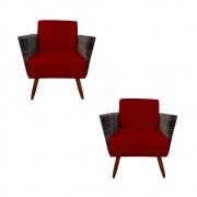 Kit 2 Poltrona Chanel Decoração Pé Palito Cadeira Escritório Clinica Jantar Sala Estar D'Classe Decor Suede Marsala