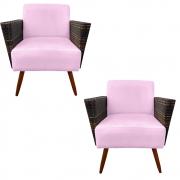 Kit 2 Poltrona Chanel Decoração Pé Palito Cadeira Escritório Clinica Jantar Sala Estar D'Classe Decor Suede Rosa Bebê