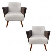 Kit 2 Poltrona Chanel Decoração Pé Palito Cadeira Escritório Clinica Jantar Sala Estar D'Classe Decor Suede Bege