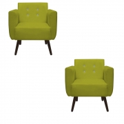 Kit 2 Poltrona Duda Strass Decoração Cadeira Escritório Consultório Salão D'Classe Decor Suede Amarelo