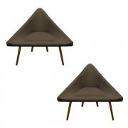 Kit 2 Poltrona Ibiza Triângulo Decoração Sala Clinica Recepção Escritório Quarto Cadeira D'Classe Decor Sued.Marrom Rato