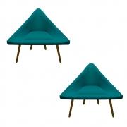 Kit 2 Poltrona Ibiza Triângulo Decoração Sala Clinica Recepção Escritório Quarto Cadeira D'Classe Decor Suede Az Tiffany