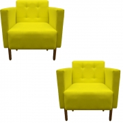 Kit 2 Poltrona Isa Decoração Clinica Recepção Escritório Quarto Cadeira D'Classe Decor Suede Amarelo