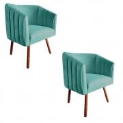 Kit 2 Poltrona Julia Decoração Salão Cadeira Escritório Recepção Estar Amamentação Suede Az Tiffany