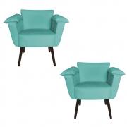 Kit 2 Poltrona Ruby Decoração Robusta Amamentação Salão Sala Estar Escritório Quarto D'Classe Decor Suede Azul Tiffany