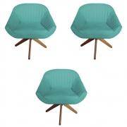 Kit 3 Poltrona Anitta Decoração Base Giratória Moderna Recepção Quarto Salão D'Classe Decor Suede Azul Tiffany