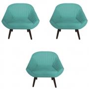 Kit 3 Poltrona Anitta Decoração Recepção Clínica Pé Palito Moderna Quarto Salão D'Classe Decor Suede Azul Tiffany
