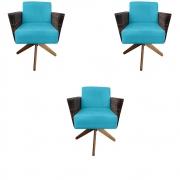 Kit 3 Poltrona Chanel Decoração Base Giratória Escritório Estar Recepção Clinica Suede Azul Tiffany