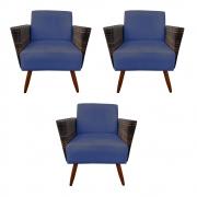 Kit 3 Poltrona Chanel Decoração Pé Palito Cadeira Escritório Clinica Estar Suede Azul Marinho