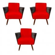 Kit 3 Poltrona Chanel Decoração Pé Palito Cadeira Escritório Clinica Jantar Estar Suede Vermelho