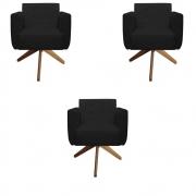 Kit 3 Poltrona Duda Decoraçâo Base Giratória Cadeira Recepção Escritório Clinica D'Classe Decor Suede Preto